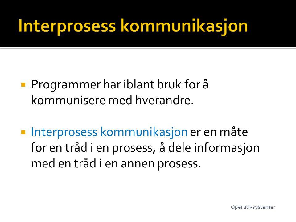  Programmer har iblant bruk for å kommunisere med hverandre.  Interprosess kommunikasjon er en måte for en tråd i en prosess, å dele informasjon med