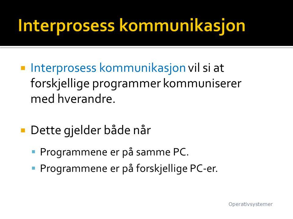  Interprosess kommunikasjon vil si at forskjellige programmer kommuniserer med hverandre.  Dette gjelder både når  Programmene er på samme PC.  Pr