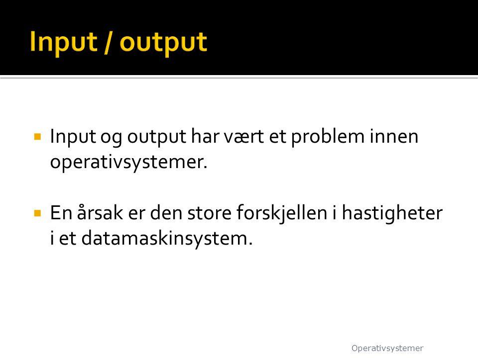  Input og output har vært et problem innen operativsystemer.  En årsak er den store forskjellen i hastigheter i et datamaskinsystem. Operativsysteme