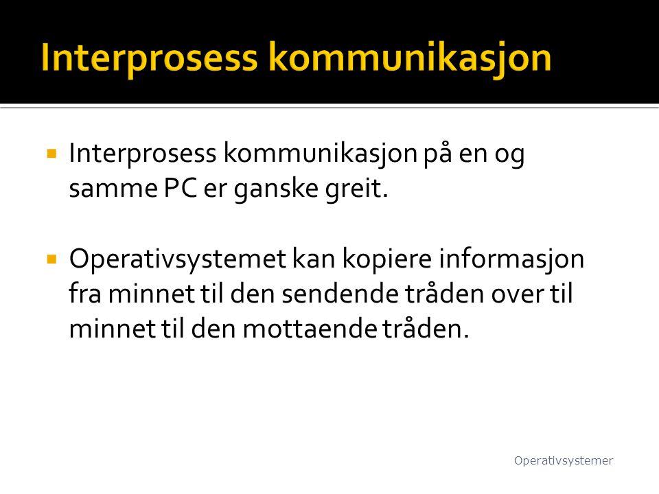  Interprosess kommunikasjon på en og samme PC er ganske greit.  Operativsystemet kan kopiere informasjon fra minnet til den sendende tråden over til