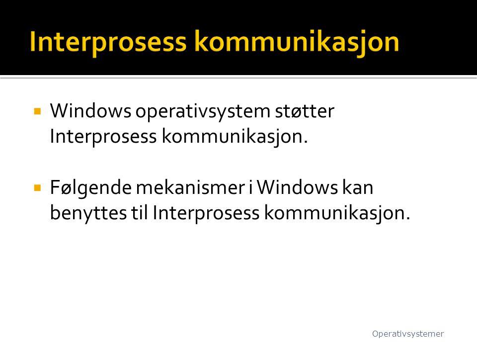  Windows operativsystem støtter Interprosess kommunikasjon.  Følgende mekanismer i Windows kan benyttes til Interprosess kommunikasjon. Operativsyst