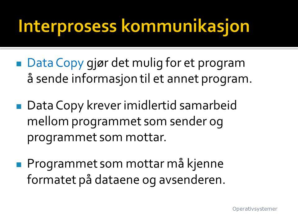 Data Copy gjør det mulig for et program å sende informasjon til et annet program. Data Copy krever imidlertid samarbeid mellom programmet som sender o