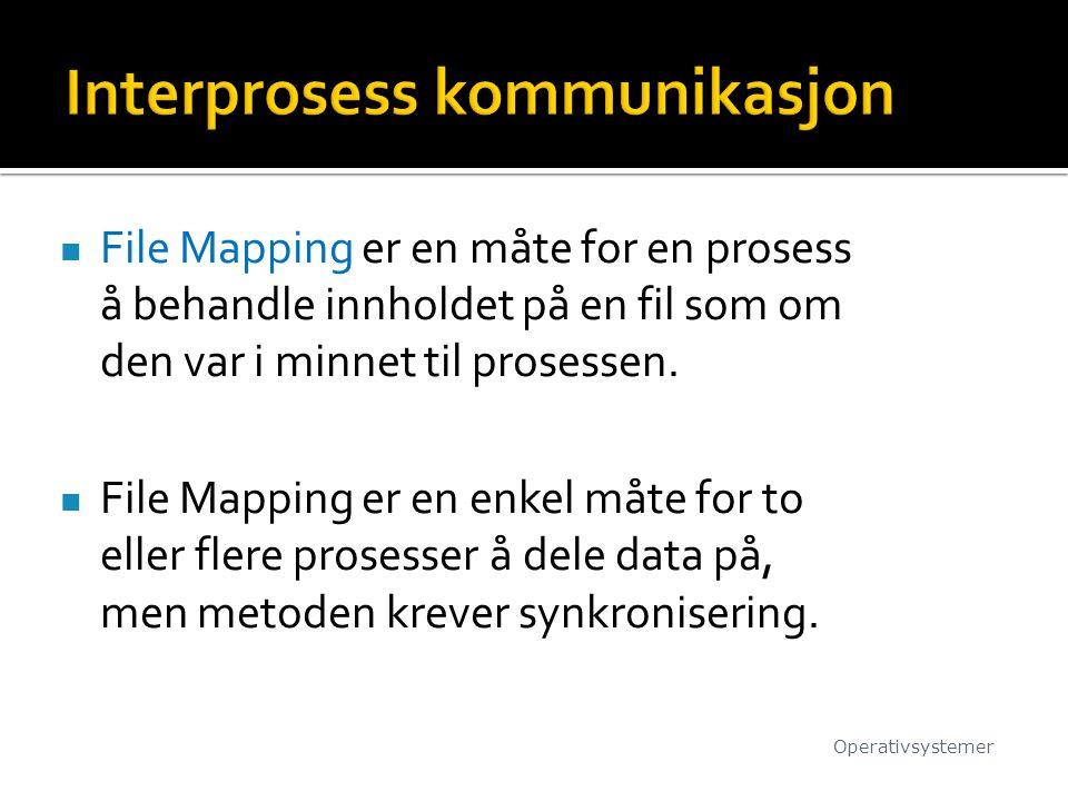 File Mapping er en måte for en prosess å behandle innholdet på en fil som om den var i minnet til prosessen. File Mapping er en enkel måte for to elle