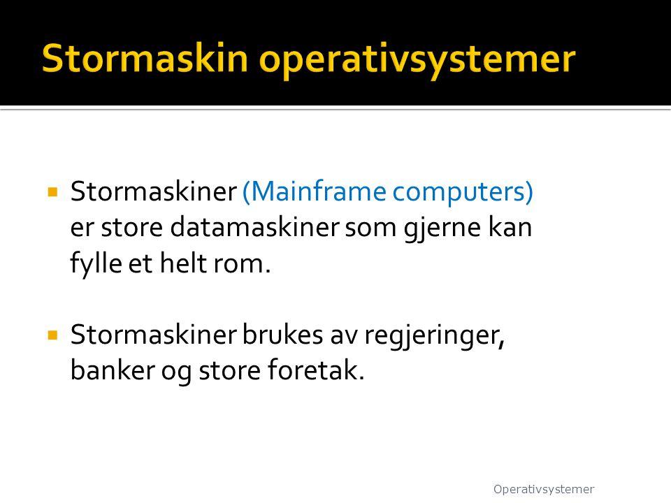  Stormaskiner (Mainframe computers) er store datamaskiner som gjerne kan fylle et helt rom.  Stormaskiner brukes av regjeringer, banker og store for