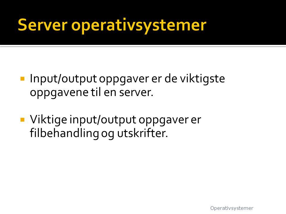  Input/output oppgaver er de viktigste oppgavene til en server.  Viktige input/output oppgaver er filbehandling og utskrifter. Operativsystemer