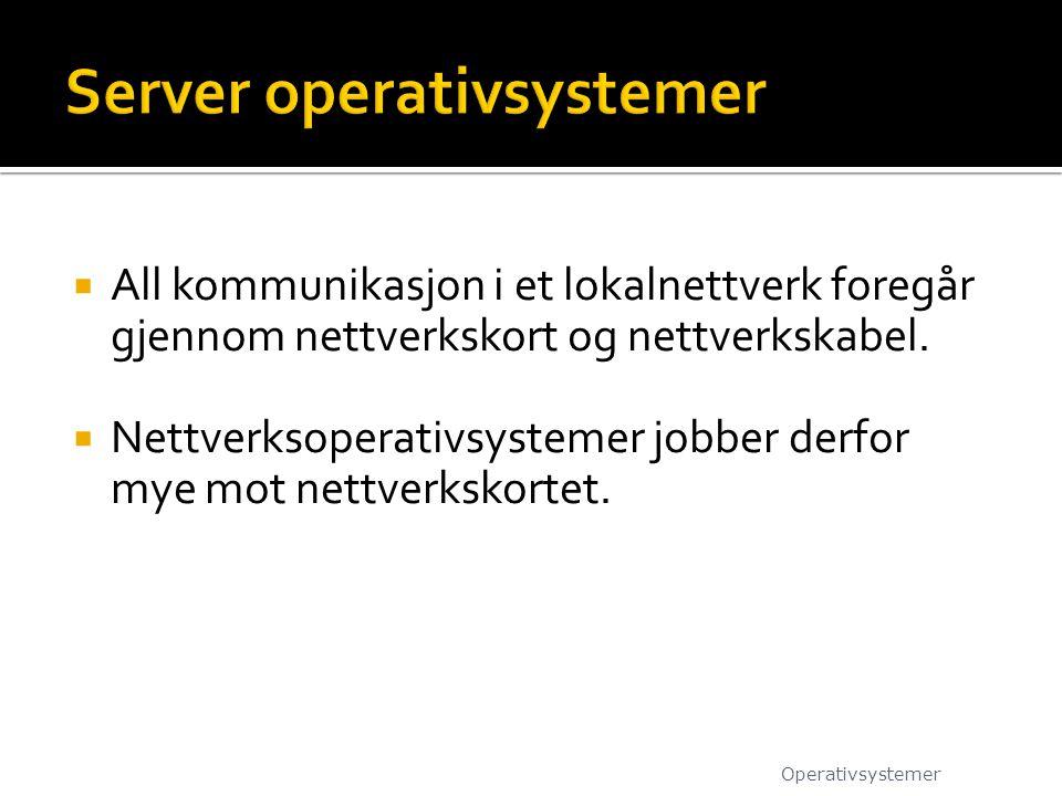 All kommunikasjon i et lokalnettverk foregår gjennom nettverkskort og nettverkskabel.  Nettverksoperativsystemer jobber derfor mye mot nettverkskor