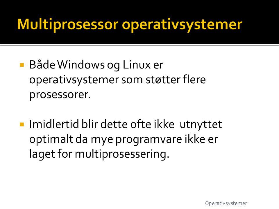  Både Windows og Linux er operativsystemer som støtter flere prosessorer.  Imidlertid blir dette ofte ikke utnyttet optimalt da mye programvare ikke
