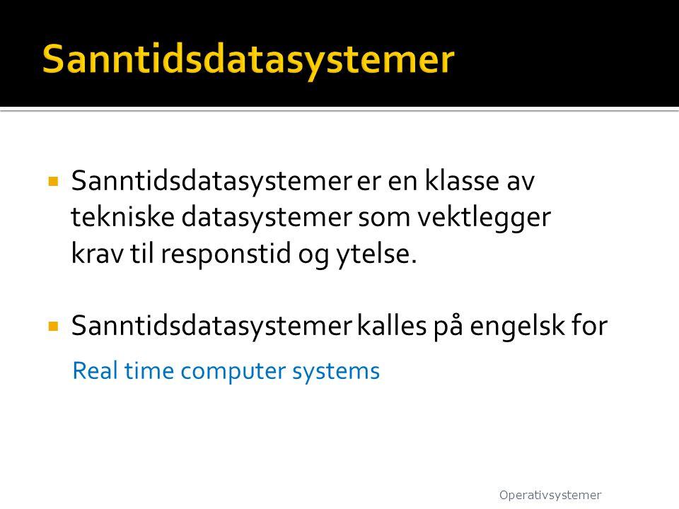  Sanntidsdatasystemer er en klasse av tekniske datasystemer som vektlegger krav til responstid og ytelse.  Sanntidsdatasystemer kalles på engelsk fo