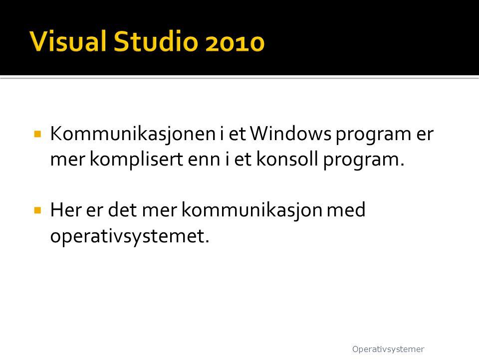  Kommunikasjonen i et Windows program er mer komplisert enn i et konsoll program.  Her er det mer kommunikasjon med operativsystemet. Operativsystem