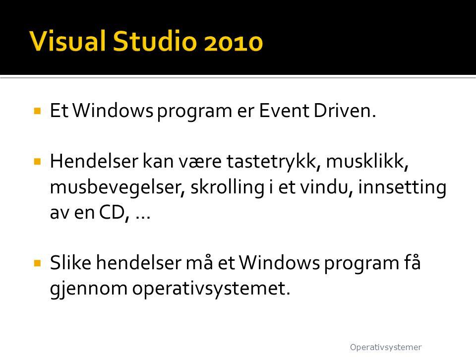  Et Windows program er Event Driven.  Hendelser kan være tastetrykk, musklikk, musbevegelser, skrolling i et vindu, innsetting av en CD,...  Slike