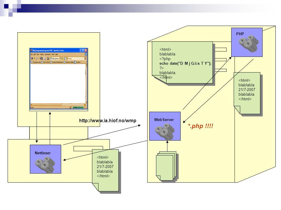 WebServer blablabla 21/7-2007 blablabla http://www.ia.hiof.no/wmp Nettleser PHP blablabla blablabla blablabla 21/7-2007 blablabla *.php !!!!