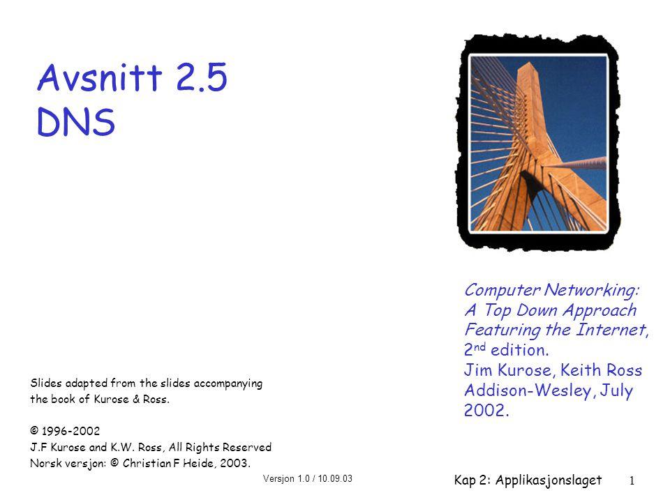 Versjon 1.0 / 10.09.03 Kap 2: Applikasjonslaget2 Kapittel 2 – oversikt r 2.1 Principles of app layer protocols r 2.2 Web and HTTP r 2.3 FTP r 2.4 Electronic Mail m SMTP, POP3, IMAP r 2.5 DNS r 2.6 Socket programming with TCP r 2.7 Socket programming with UDP r 2.8 Building a Web server r 2.9 Content distribution m Network Web caching m Content distribution networks m P2P file sharing