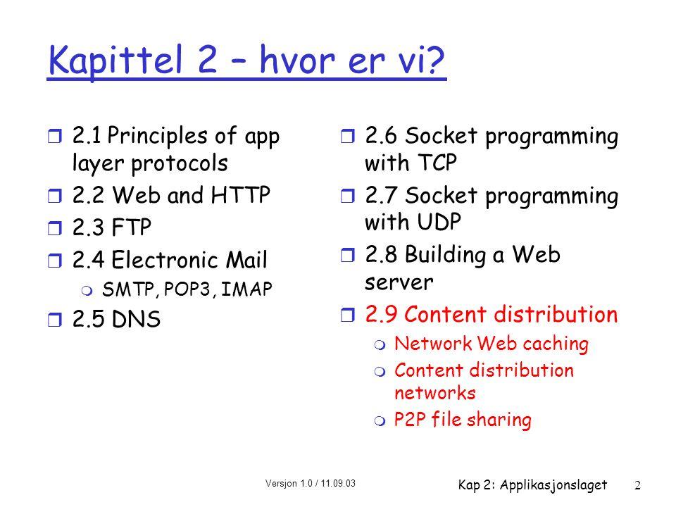 Versjon 1.0 / 11.09.03 Kap 2: Applikasjonslaget3 Web caching (proxy-tjenere) klient Proxy tjener klient HTTP request HTTP response HTTP request HTTP response opprinnelses- server opprinnelses- server