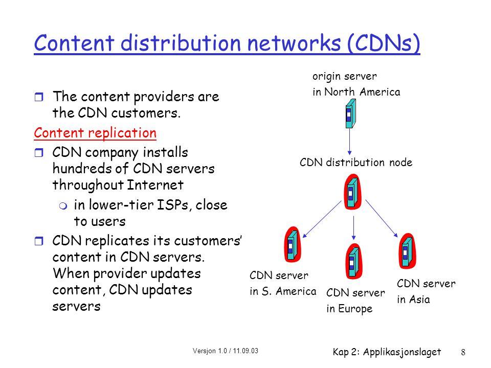 Versjon 1.0 / 11.09.03 Kap 2: Applikasjonslaget8 Content distribution networks (CDNs) r The content providers are the CDN customers.
