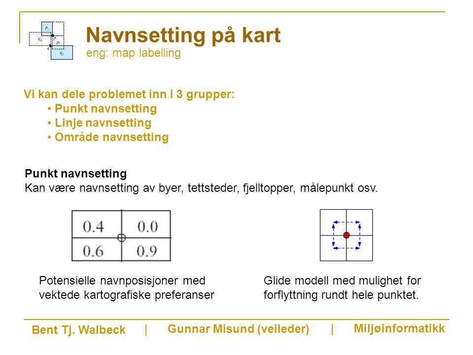 eng: map labelling Navnsetting på kart Vi kan dele problemet inn i 3 grupper: Punkt navnsetting Linje navnsetting Område navnsetting Bent Tj.