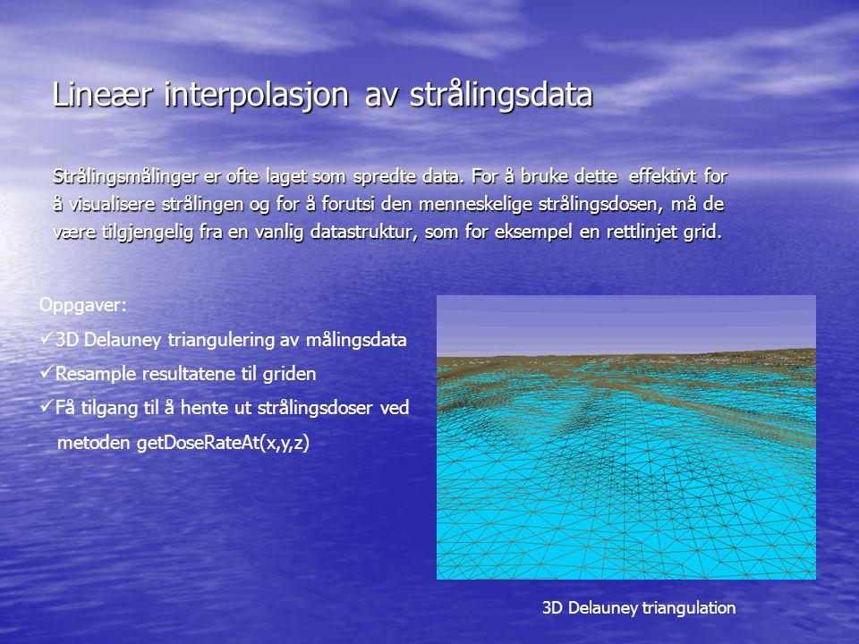 Lineær interpolasjon av strålingsdata Strålingsmålinger er ofte laget som spredte data. For å bruke dette effektivt for å visualisere strålingen og fo