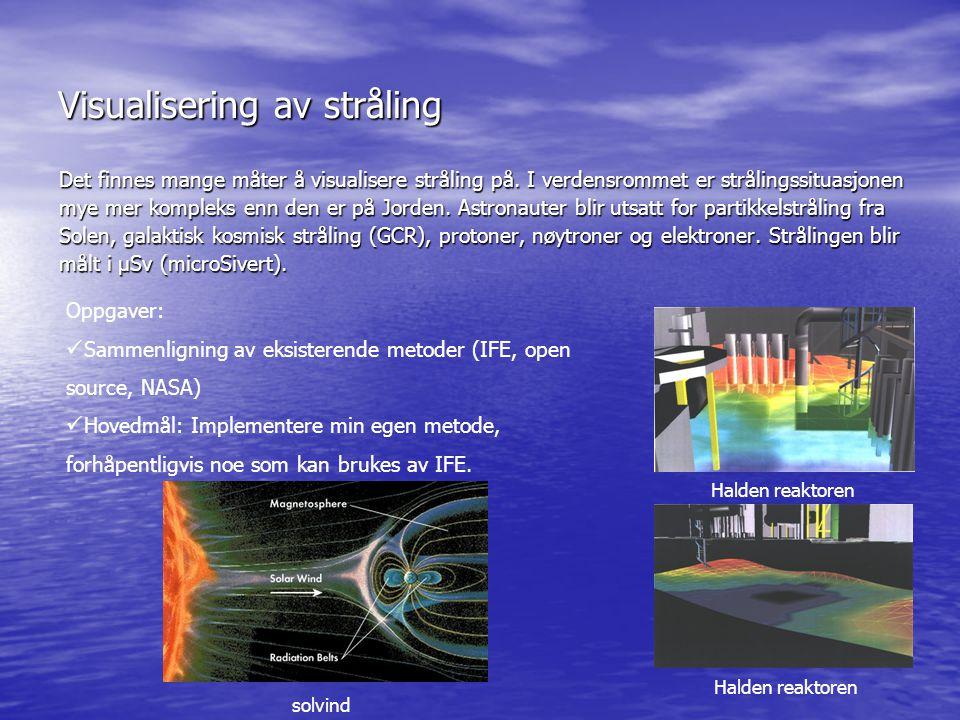 Visualisering av stråling Det finnes mange måter å visualisere stråling på. I verdensrommet er strålingssituasjonen mye mer kompleks enn den er på Jor
