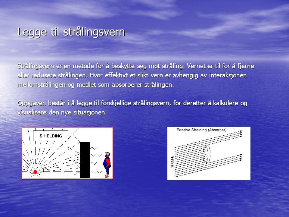 Legge til strålingsvern Strålingsvern er en metode for å beskytte seg mot stråling. Vernet er til for å fjerne eller redusere strålingen. Hvor effekti