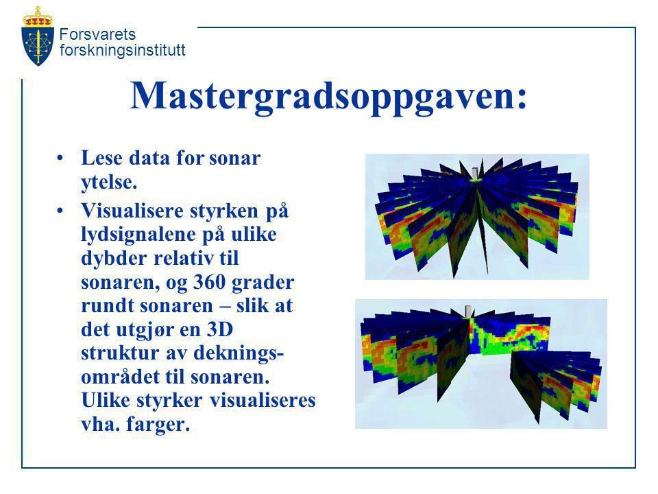 Forsvarets forskningsinstitutt Mastergradsoppgaven: Lese data for sonar ytelse. Visualisere styrken på lydsignalene på ulike dybder relativ til sonare