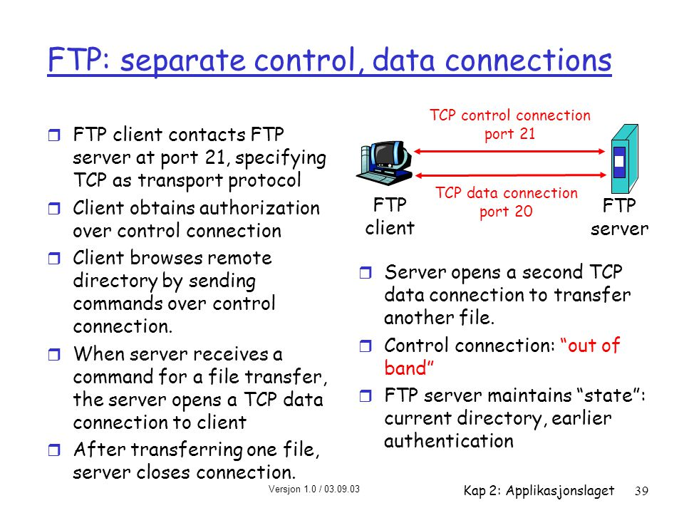 Versjon 1.0 / 03.09.03 Kap 2: Applikasjonslaget39 FTP: separate control, data connections r FTP client contacts FTP server at port 21, specifying TCP as transport protocol r Client obtains authorization over control connection r Client browses remote directory by sending commands over control connection.