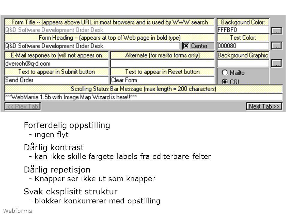 Forferdelig oppstilling - ingen flyt Dårlig kontrast - kan ikke skille fargete labels fra editerbare felter Dårlig repetisjon - Knapper ser ikke ut som knapper Svak eksplisitt struktur - blokker konkurrerer med opstilling Webforms
