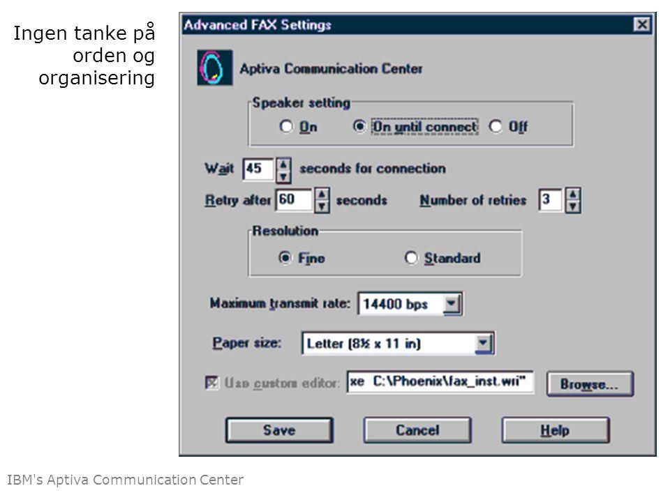 Ingen tanke på orden og organisering IBM s Aptiva Communication Center