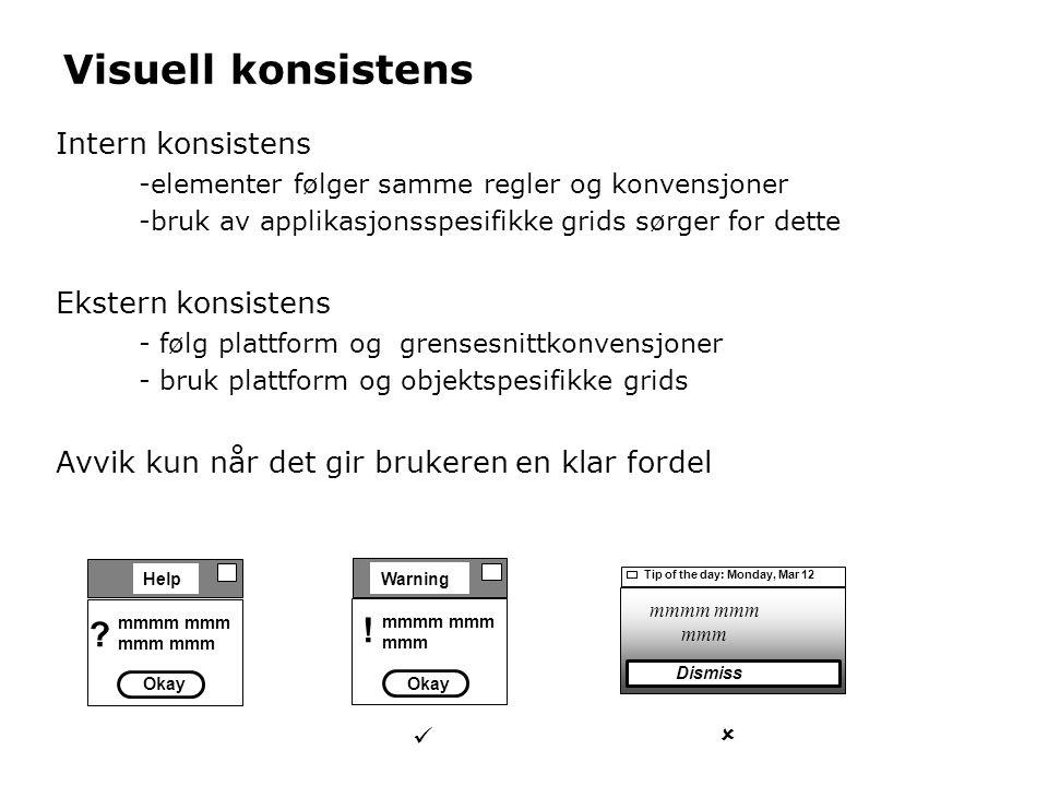 Mangel på konsistens - eksempel Hvilket print-ikon skal brukes