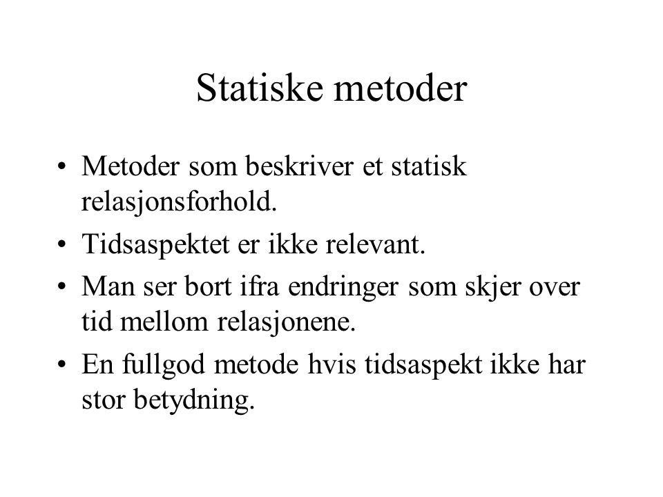Statiske metoder Metoder som beskriver et statisk relasjonsforhold. Tidsaspektet er ikke relevant. Man ser bort ifra endringer som skjer over tid mell