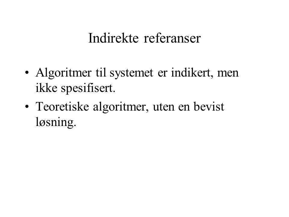Indirekte referanser Algoritmer til systemet er indikert, men ikke spesifisert. Teoretiske algoritmer, uten en bevist løsning.