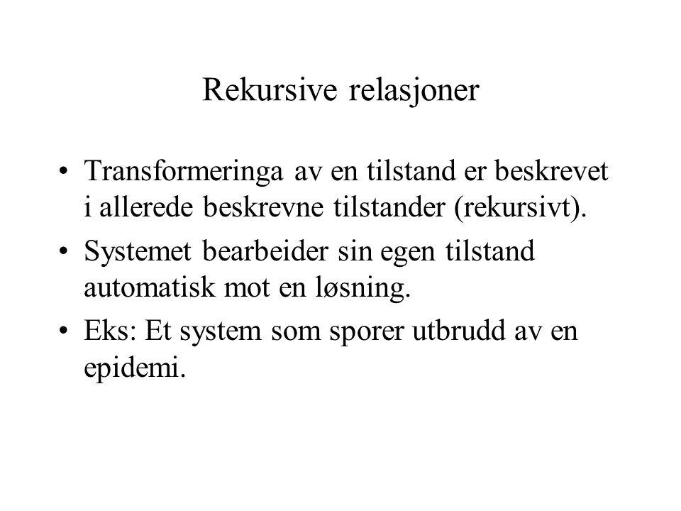 Rekursive relasjoner Transformeringa av en tilstand er beskrevet i allerede beskrevne tilstander (rekursivt). Systemet bearbeider sin egen tilstand au