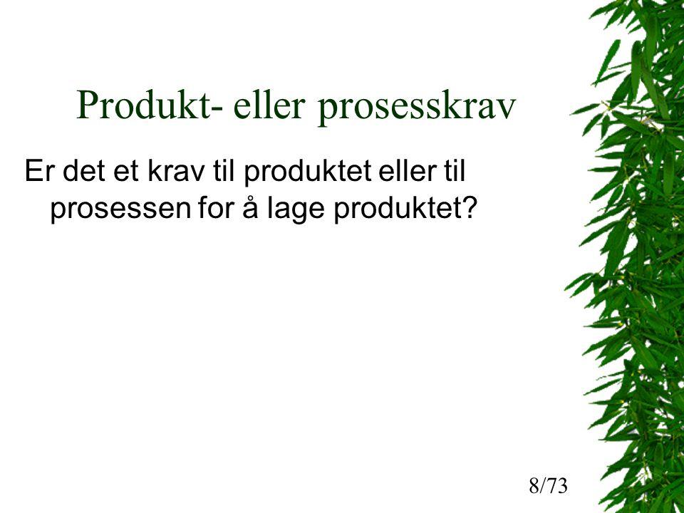 Produkt- eller prosesskrav Er det et krav til produktet eller til prosessen for å lage produktet.