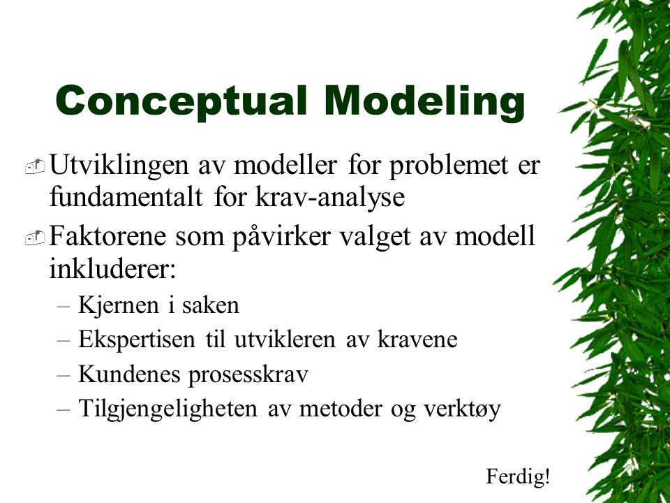Conceptual Modeling  Utviklingen av modeller for problemet er fundamentalt for krav-analyse  Faktorene som påvirker valget av modell inkluderer: –Kjernen i saken –Ekspertisen til utvikleren av kravene –Kundenes prosesskrav –Tilgjengeligheten av metoder og verktøy Ferdig!