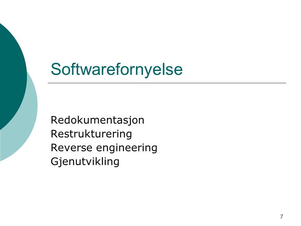 7 Softwarefornyelse Redokumentasjon Restrukturering Reverse engineering Gjenutvikling