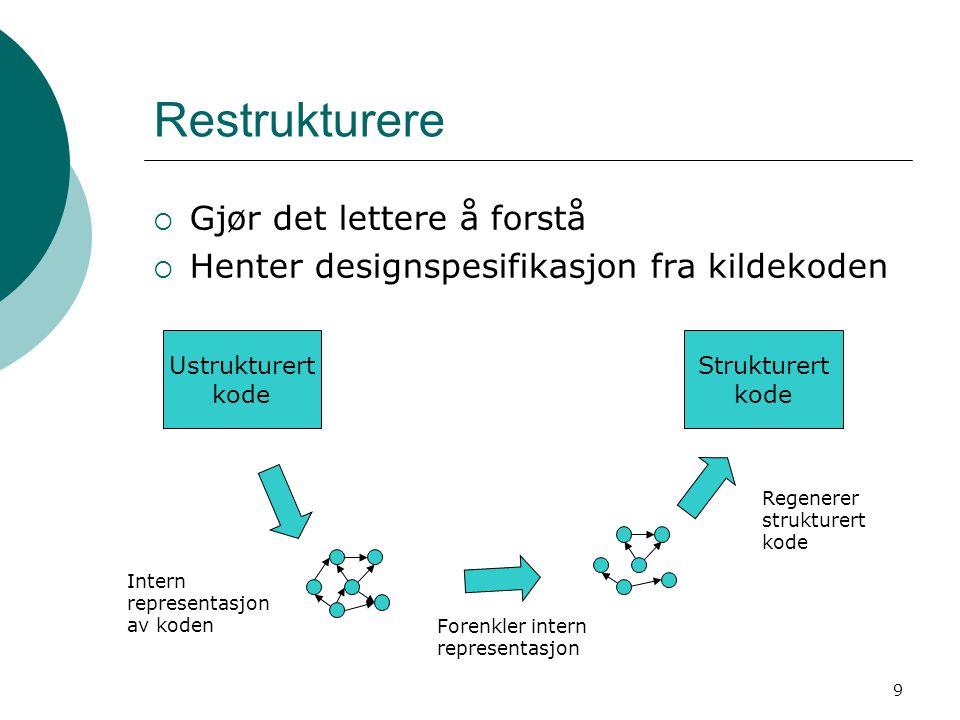 9 Restrukturere  Gjør det lettere å forstå  Henter designspesifikasjon fra kildekoden Ustrukturert kode Forenkler intern representasjon Strukturert kode Regenerer strukturert kode Intern representasjon av koden