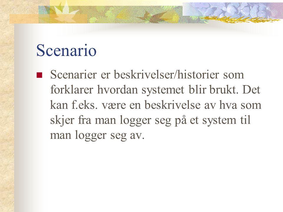 Scenario Scenarier er beskrivelser/historier som forklarer hvordan systemet blir brukt.