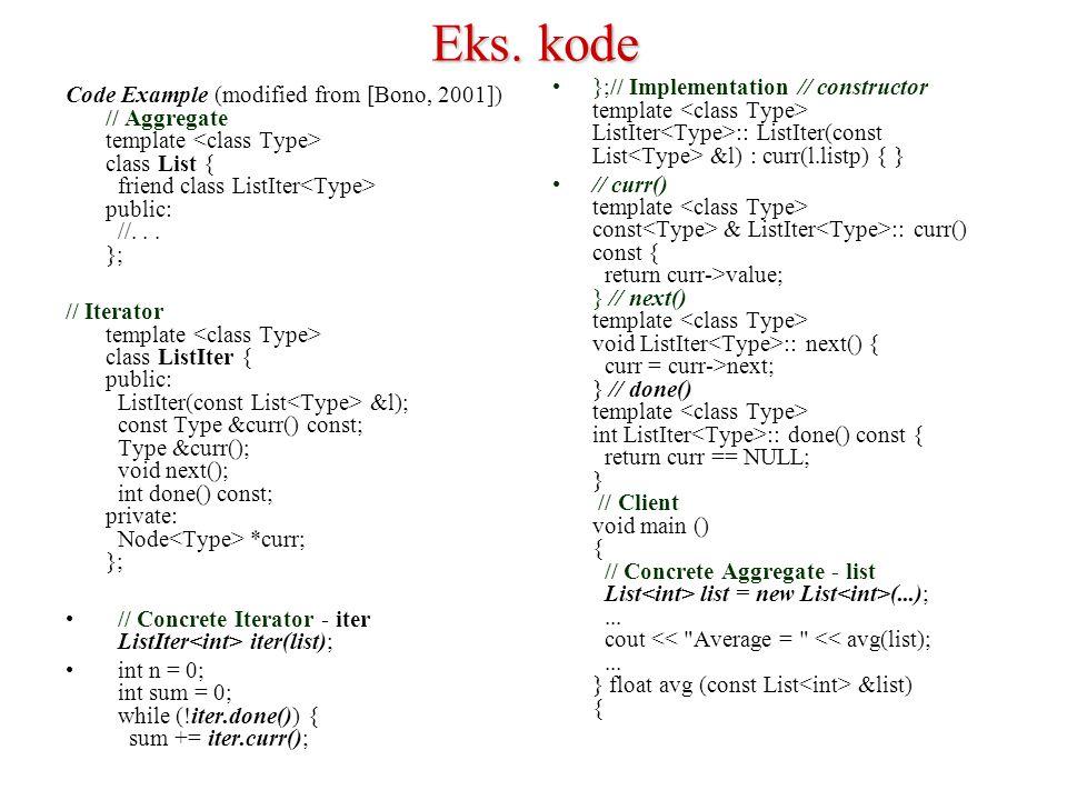 Eks. kode Code Example (modified from [Bono, 2001]) // Aggregate template class List { friend class ListIter public: //... }; // Iterator template cla