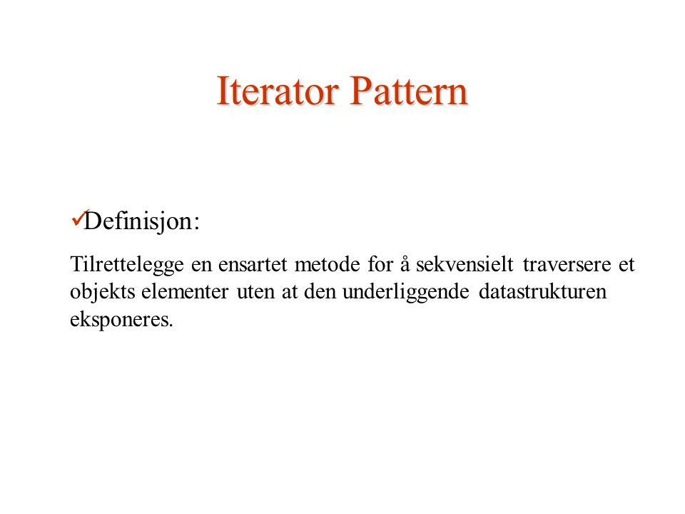 Iterator Pattern Definisjon: Tilrettelegge en ensartet metode for å sekvensielt traversere et objekts elementer uten at den underliggende datastrukturen eksponeres.