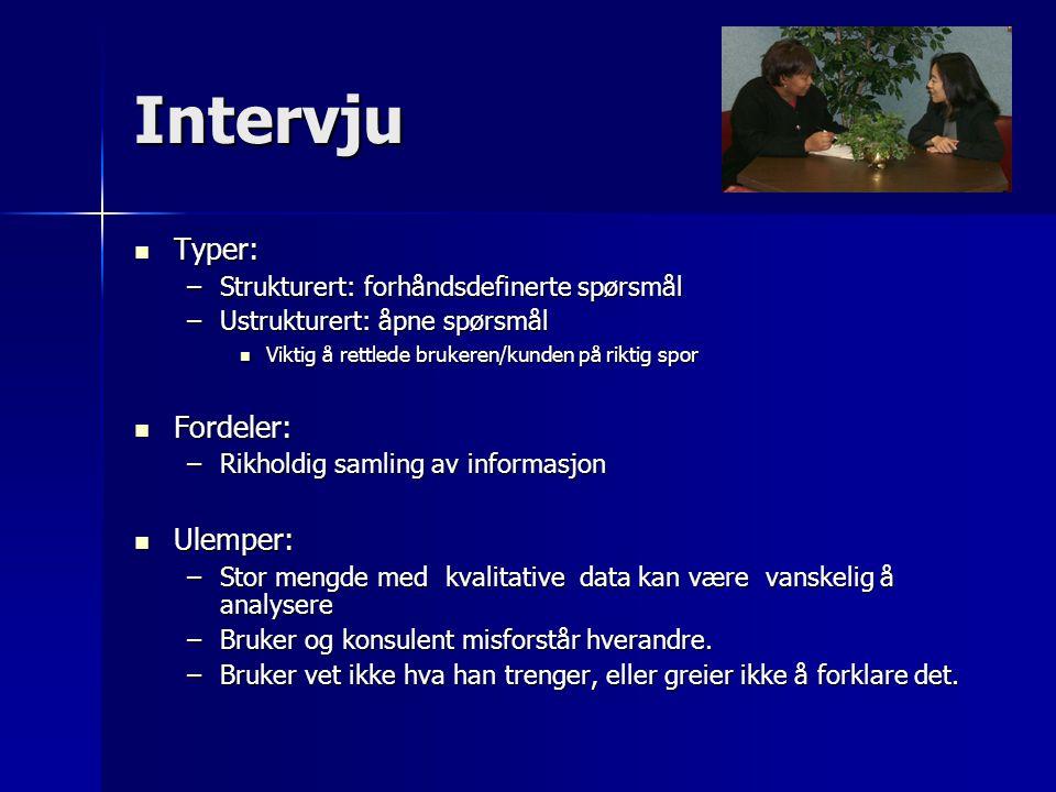 Intervju Typer: Typer: –Strukturert: forhåndsdefinerte spørsmål –Ustrukturert: åpne spørsmål Viktig å rettlede brukeren/kunden på riktig spor Viktig å