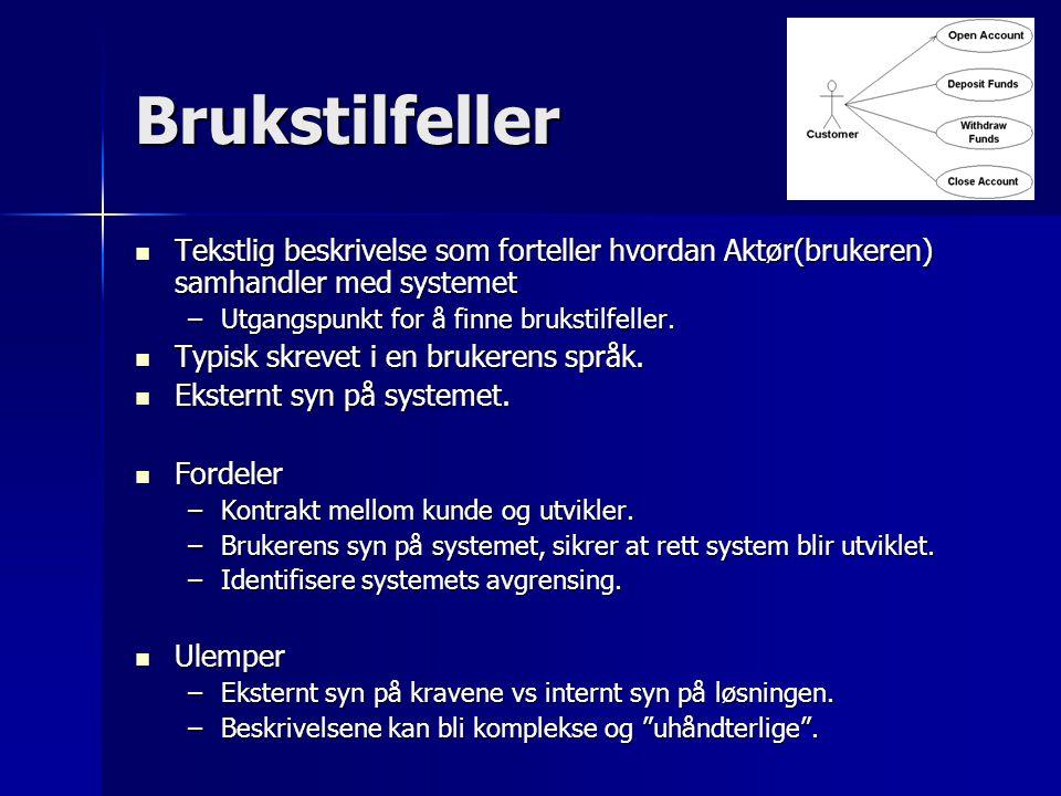 Brukstilfeller Tekstlig beskrivelse som forteller hvordan Aktør(brukeren) samhandler med systemet Tekstlig beskrivelse som forteller hvordan Aktør(bru