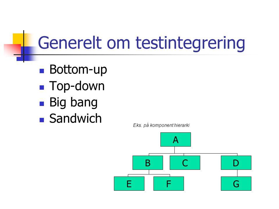 Generelt om testintegrering Bottom-up Top-down Big bang Sandwich A B E C F D G Eks. på komponent hierarki