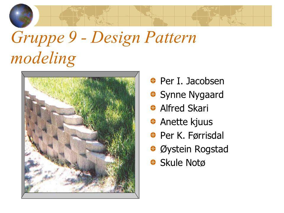 Gruppe 9 - Design Pattern modeling Per I. Jacobsen Synne Nygaard Alfred Skari Anette kjuus Per K. Førrisdal Øystein Rogstad Skule Notø