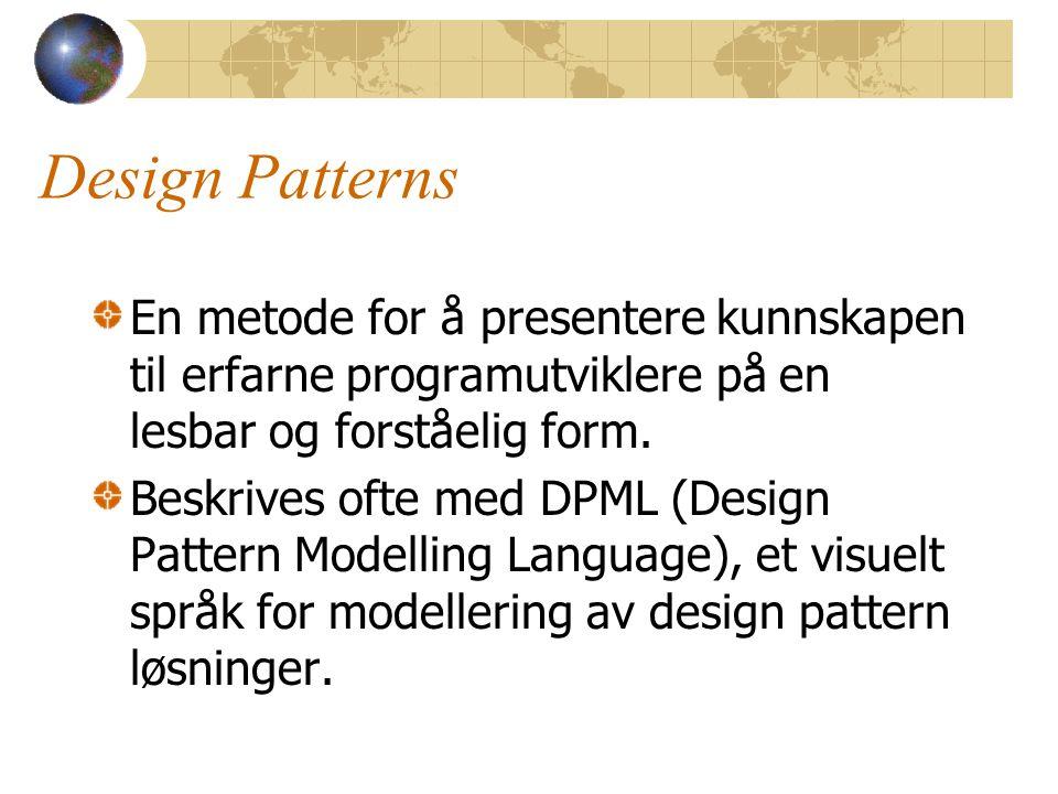 Design Patterns En metode for å presentere kunnskapen til erfarne programutviklere på en lesbar og forståelig form. Beskrives ofte med DPML (Design Pa