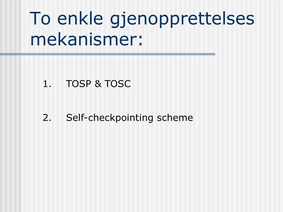 To enkle gjenopprettelses mekanismer: 1. TOSP & TOSC 2. Self-checkpointing scheme