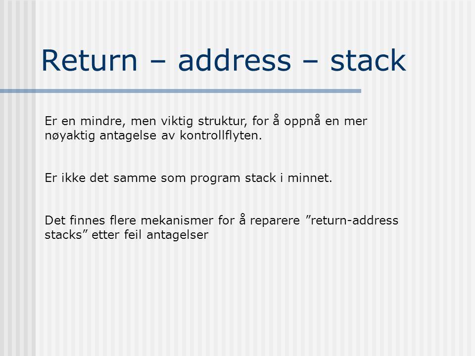 Return – address – stack Er en mindre, men viktig struktur, for å oppnå en mer nøyaktig antagelse av kontrollflyten.
