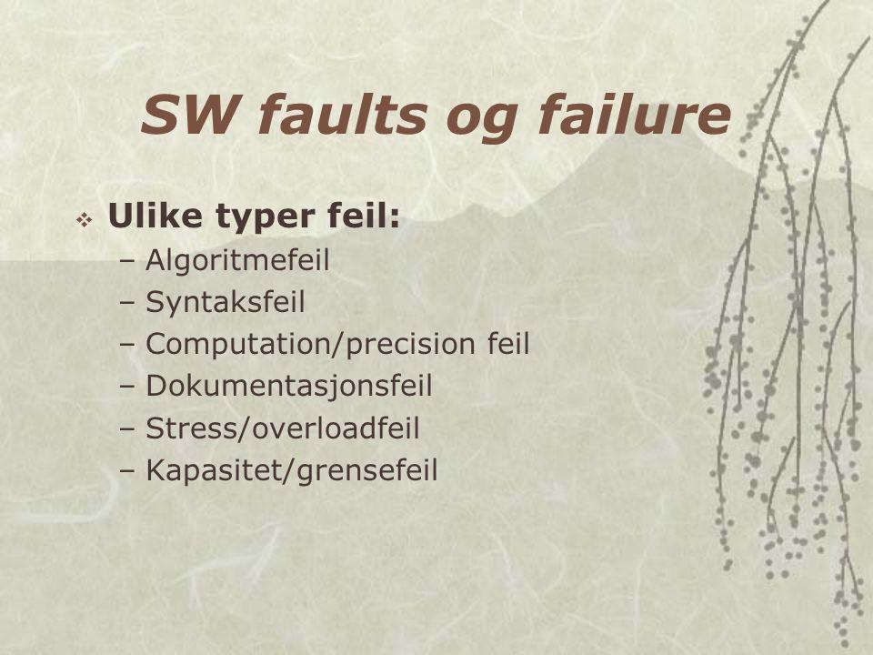 SW faults og failure  Ulike typer feil: –Algoritmefeil –Syntaksfeil –Computation/precision feil –Dokumentasjonsfeil –Stress/overloadfeil –Kapasitet/g