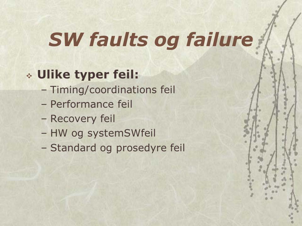 SW faults og failure  Ulike typer feil: –Timing/coordinations feil –Performance feil –Recovery feil –HW og systemSWfeil –Standard og prosedyre feil