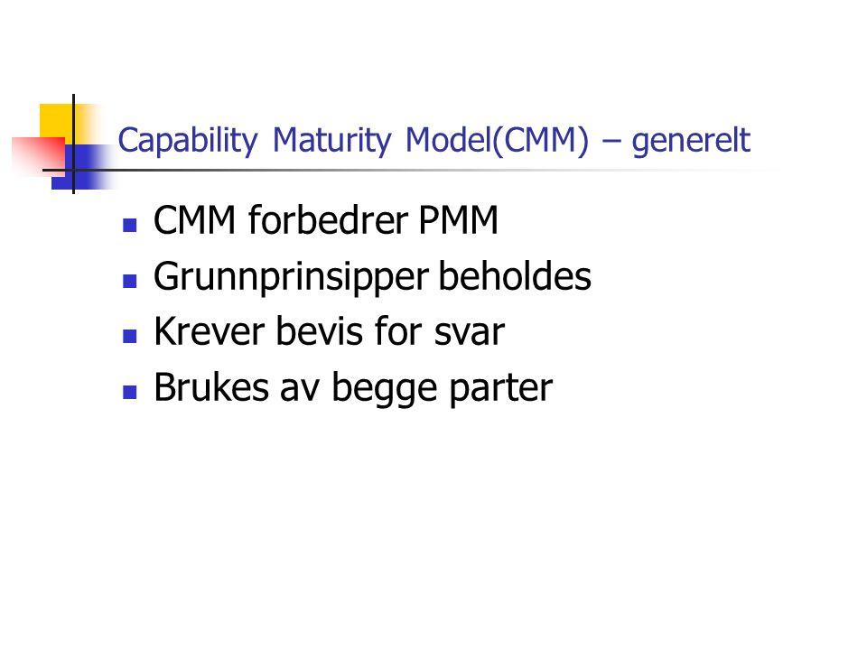 Capability Maturity Model(CMM) – skala Modellen er delt inn i 5 nivåer: 1.