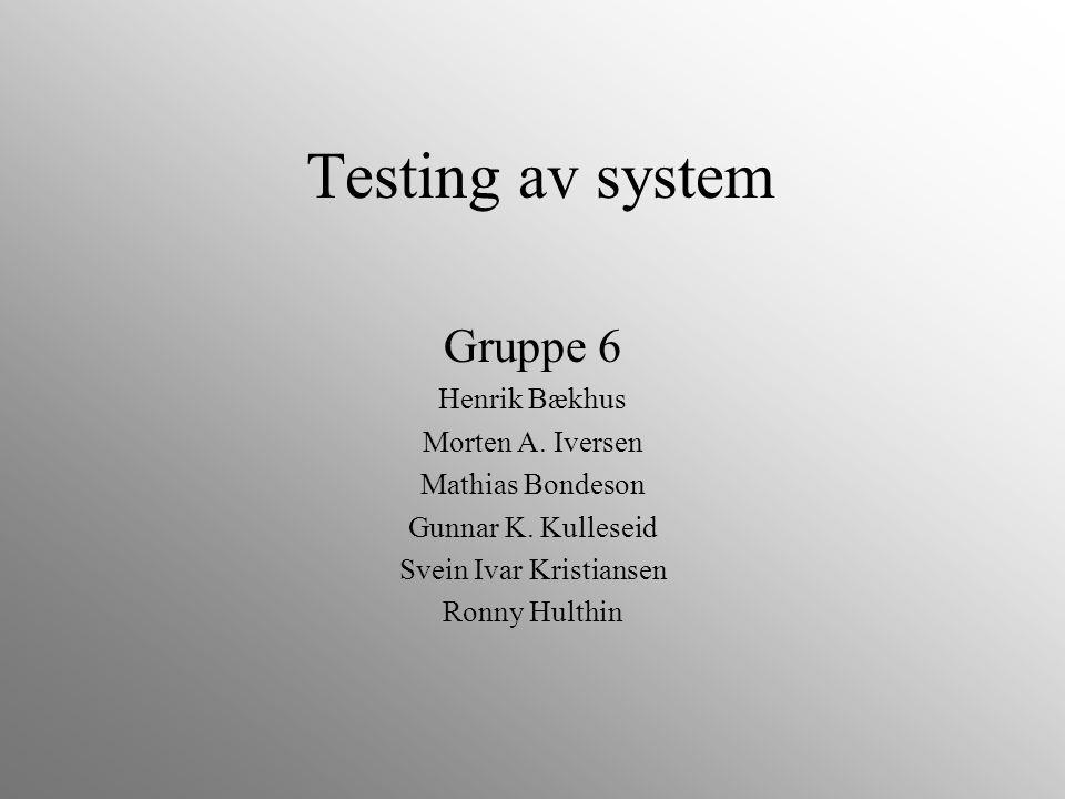 Testing av system Gruppe 6 Henrik Bækhus Morten A. Iversen Mathias Bondeson Gunnar K. Kulleseid Svein Ivar Kristiansen Ronny Hulthin