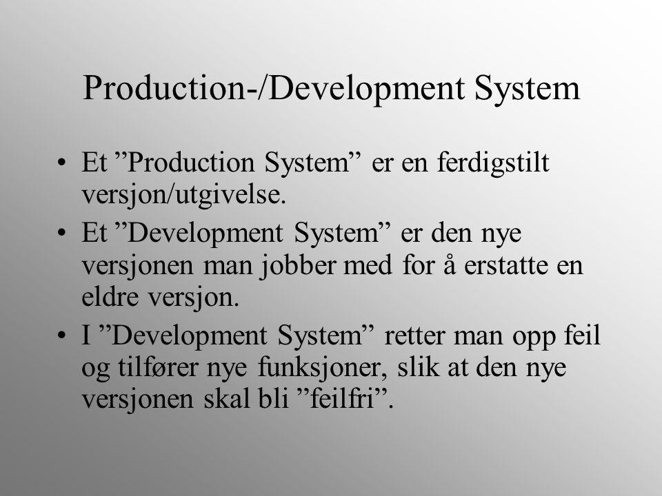 """Production-/Development System Et """"Production System"""" er en ferdigstilt versjon/utgivelse. Et """"Development System"""" er den nye versjonen man jobber med"""