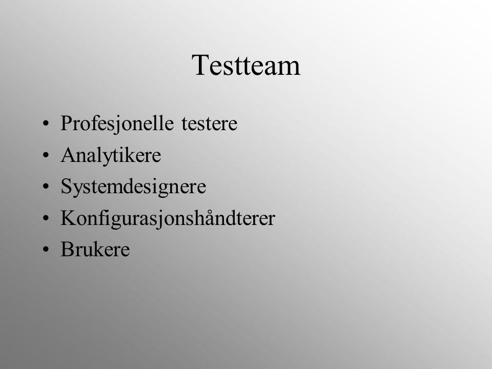 Testteam Profesjonelle testere Analytikere Systemdesignere Konfigurasjonshåndterer Brukere